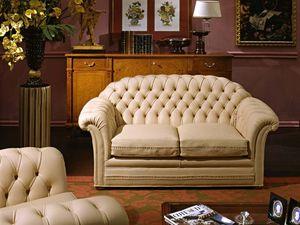 Lloyd Sofa, Canapé luxe classique, rembourrage matelassé, en cuir