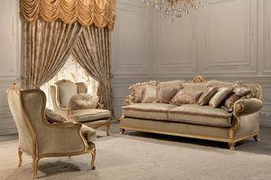 Luxury, 2 sièges canapé classique, finition feuille d'or, pour le salon