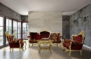 Maria tissu salon, Main sculptée canapé tapissé avec des tissus raffinés