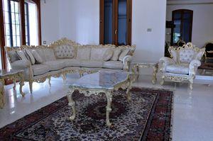 Maria canapé d'angle en tissu, Canapé baroque adapté pour les hôtels et villas