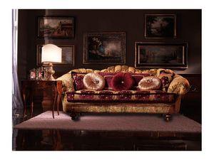 Marika, Canapé recouvert de tissu, fait main, style classique