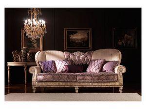 Marina, Canapé classique, rembourré, recouvert de soie, pour le salon