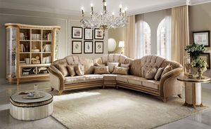 Melodia canapé d'angle, Canapé d'angle, de style classique, la texture de bois précieux, revêtement en tissu