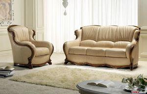 Moscow canapé, Canapé en cuir de luxe avec cadre en bois massif