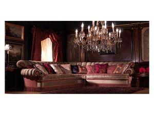 Nathalia Angular, Canapé d'angle, couvert de soie, style classique de luxe