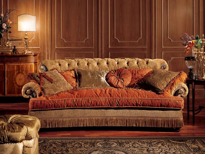 Nathalia sofa, Canapé avec dossier matelassé, style classique