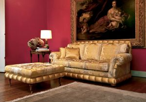 Nobile, Canapé classique de luxe avec pouf, pour les salons élégants