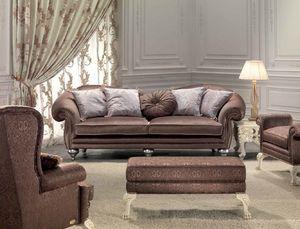 Protagonista, Canapé 3 places pour le salon, classique, détails élégants