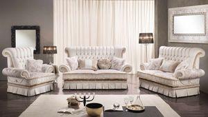 QUEEN, Canapé de style classique avec 2 ou 3 sièges