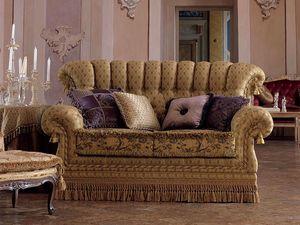 Sara, Canapé 2 places dans un style classique, matelassé, pour le salon