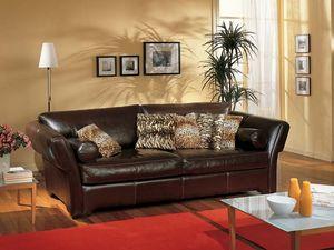 Shine Sofa, Canapé rembourré en cuir marron, pour salon