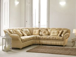 Teseo d'angle, Canapé d'angle dans le style classique de luxe, la forme sinueuse