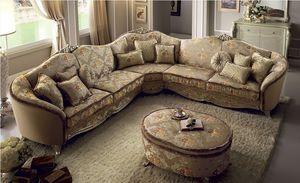Tiziano canapé d'angle, Grand canapé d'angle, revêtement en tissu, cadre en bois, confortable