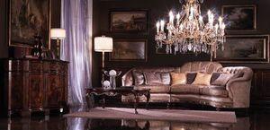 Valentina, Canapé d'angle recouvert de soie, style classique de luxe