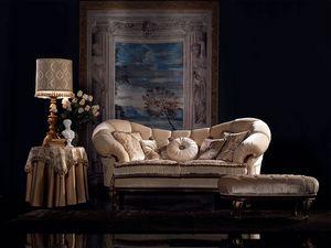 Valeria canapé capitonné, Canapé classique de luxe, finition noyer, pour le salon