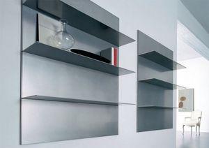 ALL comp.01, Étagères linéaires pour le salon et la bibliothèque, dans l'aluminium