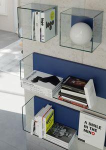 GLASSBOX comp.03, Etagères et cubes muraux en verre trempé