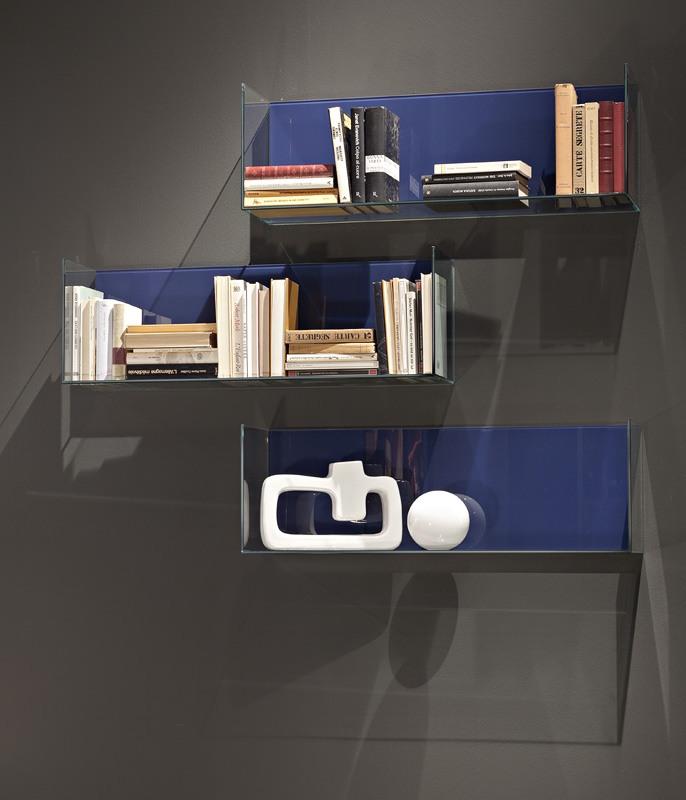 GLASSBOX comp.01, Étagères en bois originaux et de cristal, pour les salles de vie