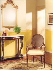 3025 CHAISE, Fauteuil en bois avec siège rembourré, style classique