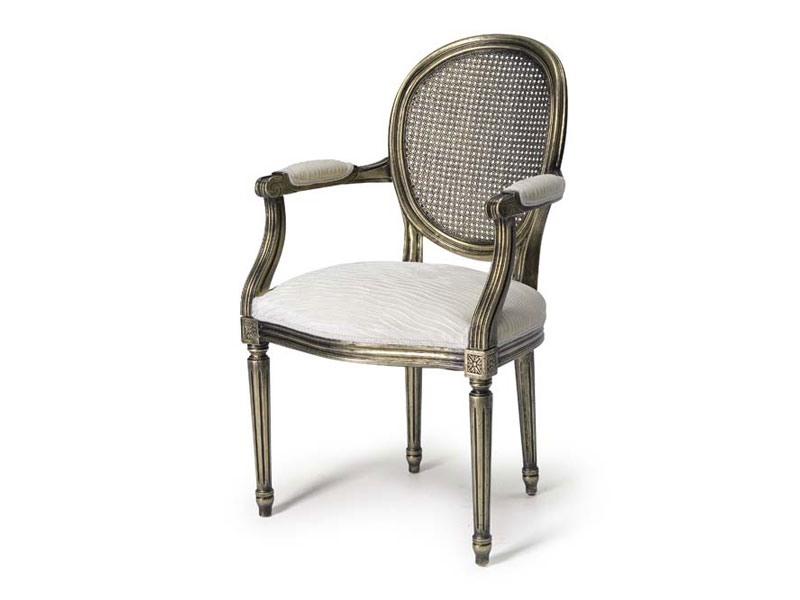 Art.105 armchair, Fauteuil avec assise et dossier en paille, Style Louis XV