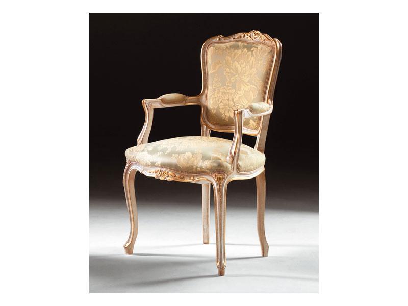 Art. 1440, Chaise classique avec accoudoirs en bois, de style Louis XV
