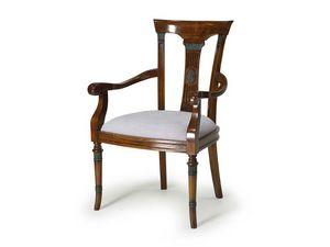 Art.187 armchair, Fauteuil en bois avec siège rembourré, style classique