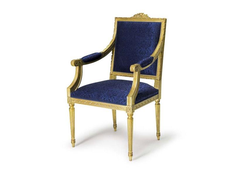 Art.442 armchair, Fauteuil de style Louis XVI en bois, sculptés à la main