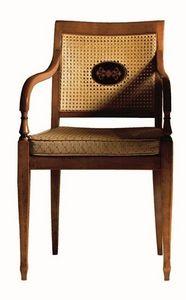 Cecilia FA.0155, Fauteuil avec bras en bois massif, siège rembourré recouvert de tissu, mesh, de style Louis XVI