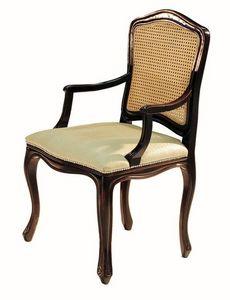 Da Vinci RA.0986, Noir laqu� petit fauteuil avec le si�ge recouvert de tissu et de la paille de retour