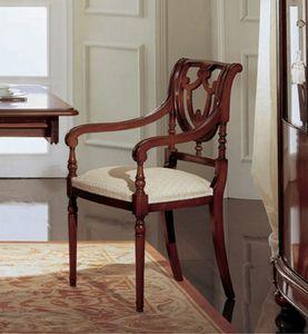 Gardenia chaise tête de de la table, Chaise tête de la table en noyer, avec ajouré