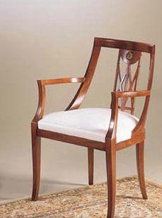 IMPERO / Stuffed armchair, Fauteuil en bois avec siège rembourré, style classique