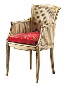 Isabella FA.0160, Chaise Canne avec siège rembourré, parfait pour les salles de séjour dans le style de luxe classique