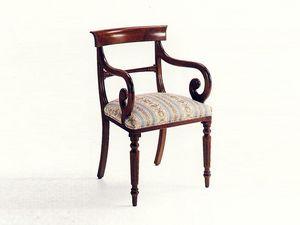 Mr. Morris, Chef de chaise de table, classique, assise rembourrée, structure en bois
