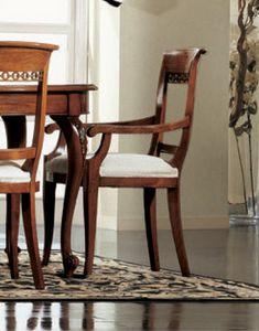 Settecento tête de chaise de la table, Tête de président de la table, bourré, avec des sculptures classiques