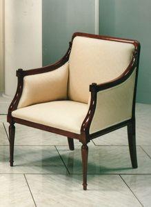 2090 FAUTEUIL, Fauteuil classique de luxe avec structure en bois visible