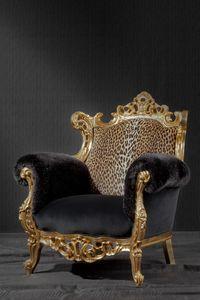 Finlandia animalier, Fauteuil de luxe, tapissé en tissu imprimé léopard