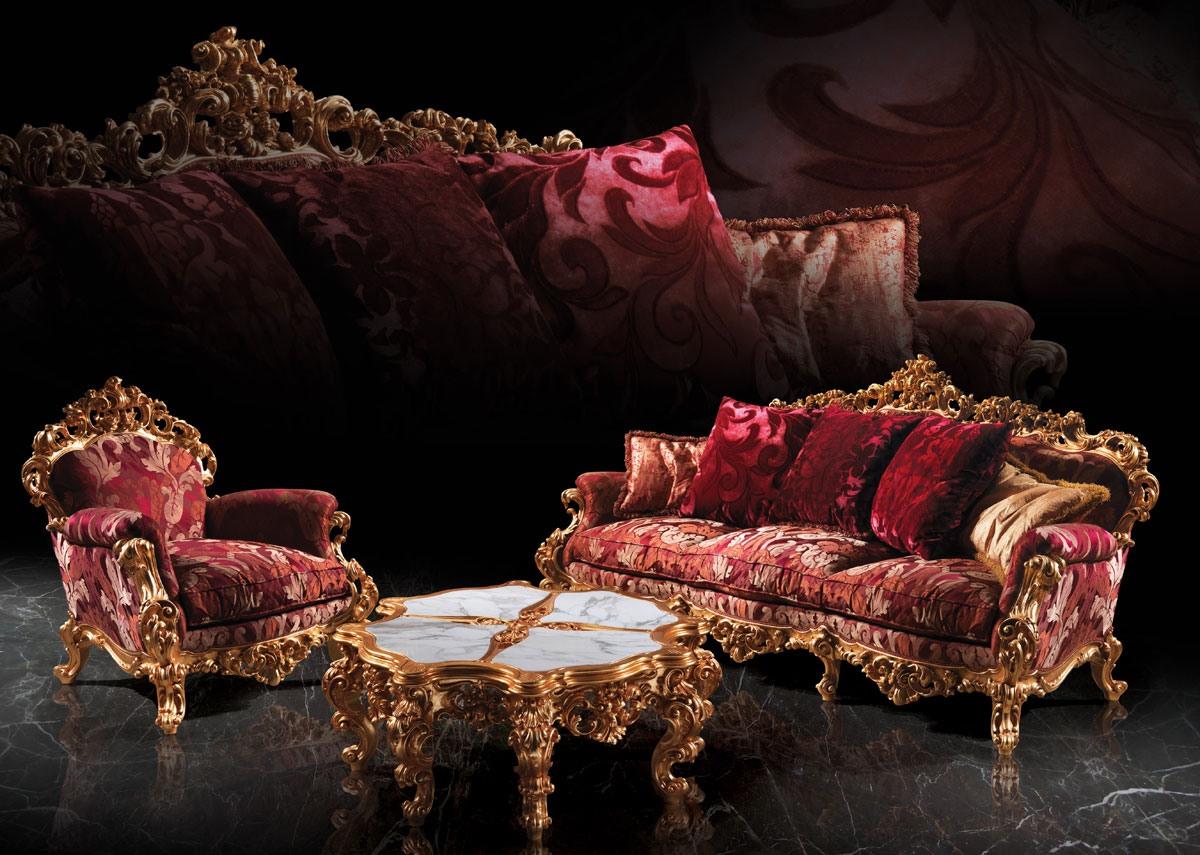 248 Living room, Fauteuil baroque, en bois, pour Suite hôtel