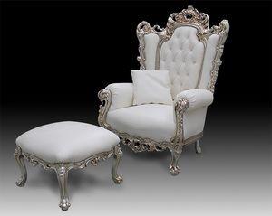 Casanova Trône, Fauteuil de style classique recouvert de cuir, style baroque