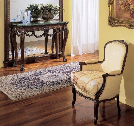 3160 ARMCHAIR LUIGI XV, Fauteuil de luxe, en bois de noyer, pour les hôtels et restaurants