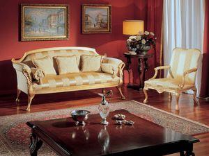 3180 ARMCHAIR, Fauteuil classique avec décorations dorées pour salons