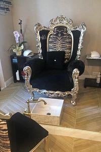 Casanova Trône animalier, Fauteuil avec accoudoirs rembourrés, style baroque