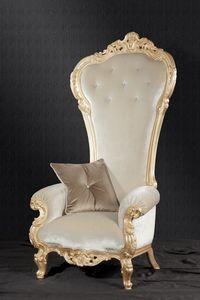 Trono Tissu, Fauteuil de style baroque idéal pour les salles de vie et hôtels