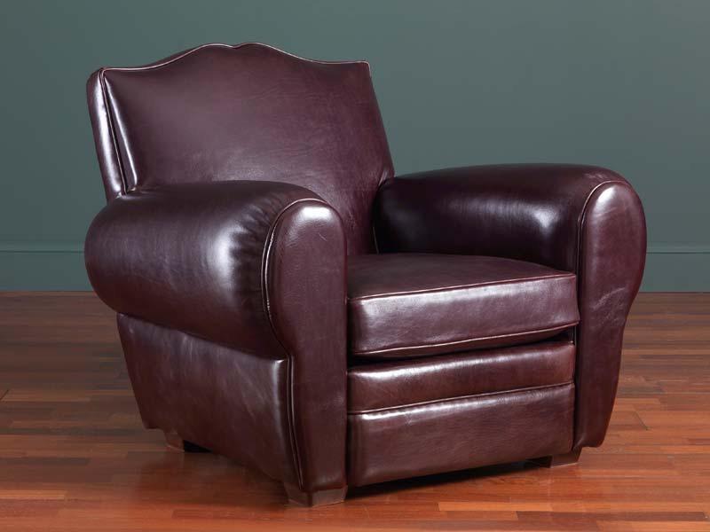 Alberto fauteuil, Fauteuil en cuir classique, 30s et 50s de style