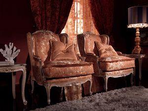 Anna Big Fauteuil, Fauteuil avec décor exquis, cadre en bois