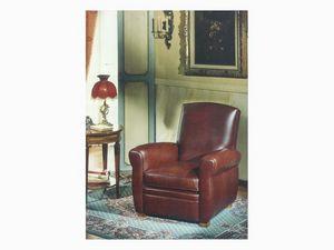 Armand, Fauteuil de style antique en cuir, pour le salon