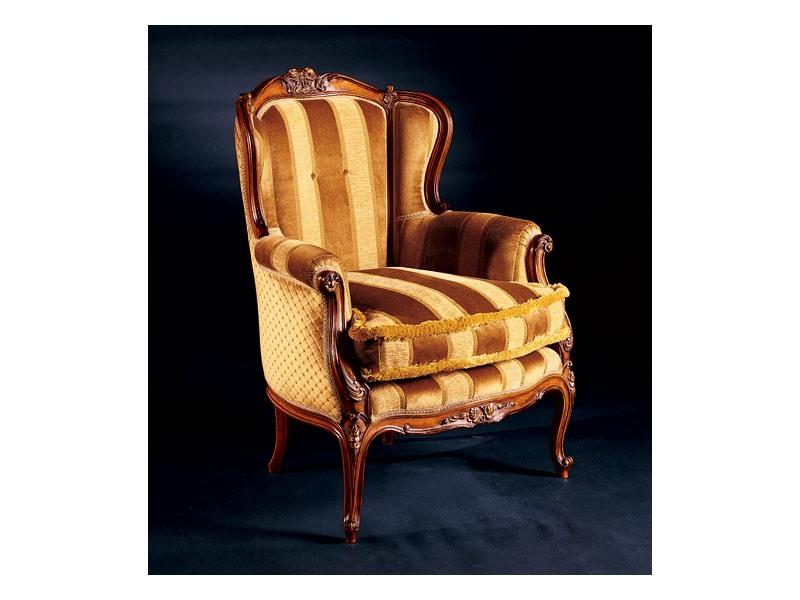 Barocco armchair 779, Fauteuil rembourré en bois marqueté, style antique