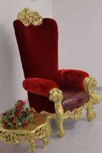 Ambassador trône, Luxueux trône, en hêtre sculpté