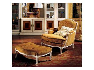 Complements lounge set 848 849, Fauteuil luxe classique et repose-pieds