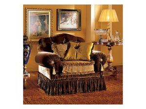 Elena armchair, Fauteuil de luxe classique avec rembourrage capitonné