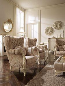 Elisabetta fauteuil, Fauteuil bergère avec des décorations artisanales
